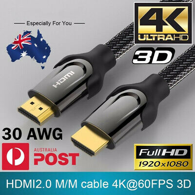 Premium HDMI Cable 4K Ultra HD V2.0 1.4 3D High Speed Ethernet Gold Plated 1-10M