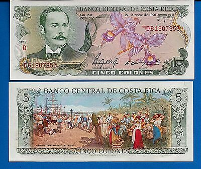 Costa Rica P-236e 5 Colones Year 1990 Uncirculated FREE SHIPPING