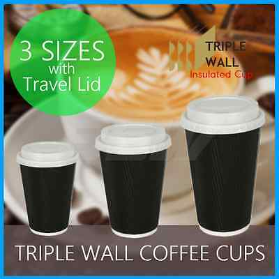 Triple Wall Coffee Cups + Lid Takeaway Take Away Disposable Paper Cup 8Oz 12Oz