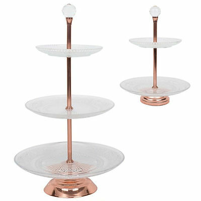 Cake Stand Rose Gold Copper Cupcake Party 2 & 3 Tier Wedding Modern Glass