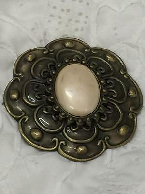 Vintage Brass Belt Buckle With A Pearl In Center x 1  (metal & plastic)