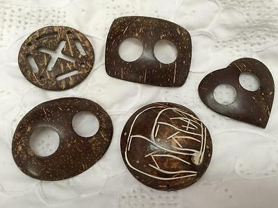 Vintage Wood Belt Buckles  x 5  (wood)