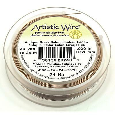 Antique Brass Artistic Beading Wire 24 Gauge 60ft