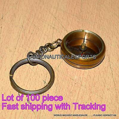 Nautical Mini Brass Compass Pocket Key Chain Antique car Bike Key Rings Gifts