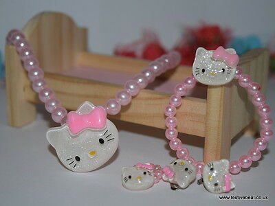 Kids Baby girl's Jewelry christmas charm party set Necklace Bracelet hello kitty