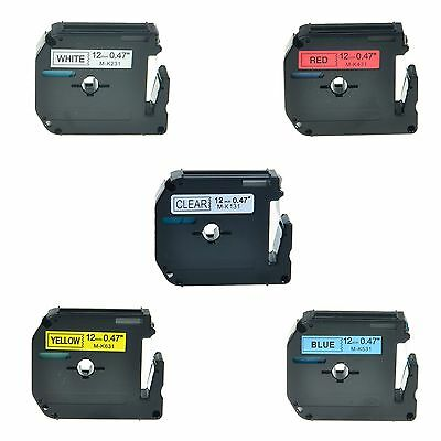 "5PK M-K MK 131 231 431 531 631 Label Tape For Brother P-Touch PT-90 1/2"" 12mm"