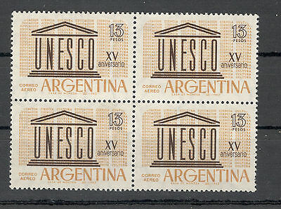 ARGENTINA-MNH-BL.OF 4 STAMPS-15 years UNESCO-1962.