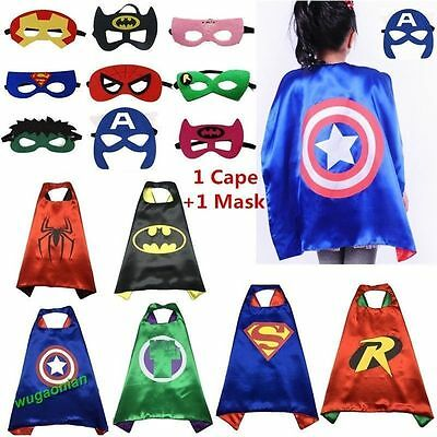 2017 NEW Kids Superhero Cape & Mask Party Costume Set Superman Batman Spiderman