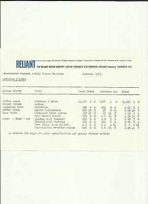 Reliant Scimitar 3 Litre  Price List 'car Sales Brochure' Sheet October 1966