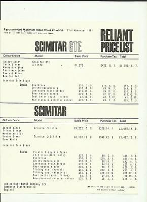 Reliant Scimitar Gte 3 Litre Price List 'car Brochure' Sheet November 1968