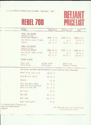 Reliant Rebel 700  Price List 'car Brochure' Sheet September 1967