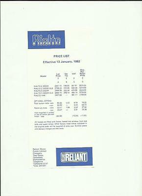 Reliant Rialto Price List 'car Sales Brochure' Sheet January 1982