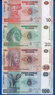 Congo P-93 P-94 P-97 P-98 Year 2003-2007 Uncirculated Banknotes Set # 4