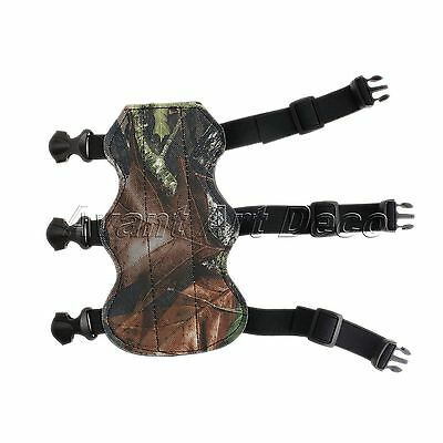 Archery Shooting Arm Guard Safe Protector Leather Adjustable 3 Strap Camouflage