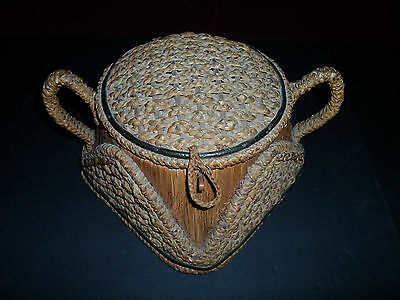 Vintage Antique Sewing Basket Woven Straw with Lining Estate find!