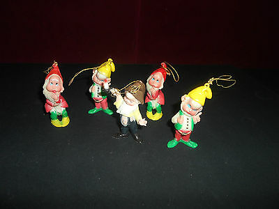 Rare Vintage Christmas Plastic Elves Mid-Century Christmas Tree Ornaments