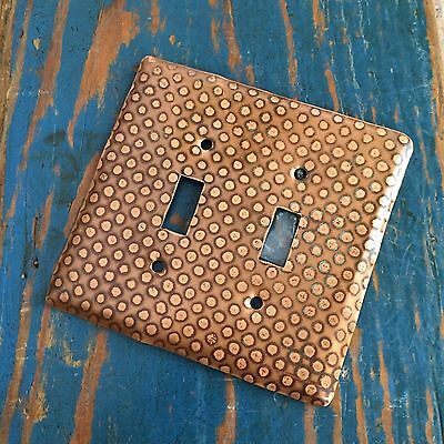 Copper Dotted Double Toggle Swith Plate Cover, Vidox Switchplate Patina Screws