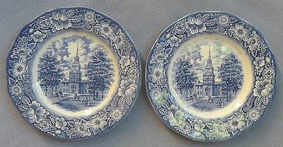 Set of TWO Staffordshire Liberty Blue Dinner Plates Made England