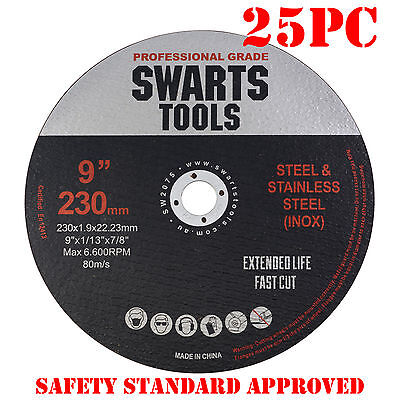 "25 x 9"" 230MM CUTTING DISC WHEEL THIN ANGLE GRINDER CUT OFF METAL STEEL FLAP"