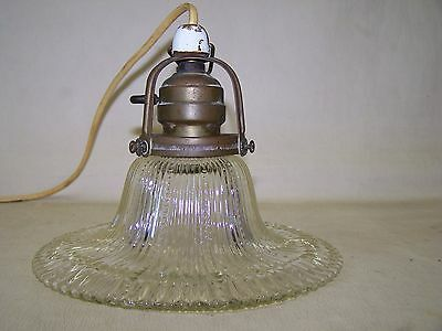 Beautiful Antique Art Nouveau Lamp, Glass Hanging Light With Rotary Switch