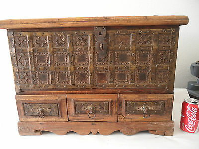 Large Indian Bride's Dowry Chest Brass Metal Wood Trunk with Hidden Compartments