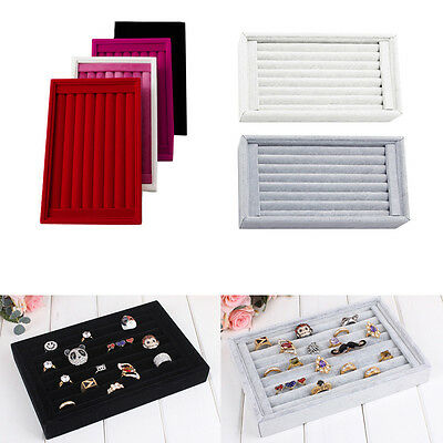 1Pc Ring Jewelry Display Show Case Organizer Box Tray Showcase Earring Holder