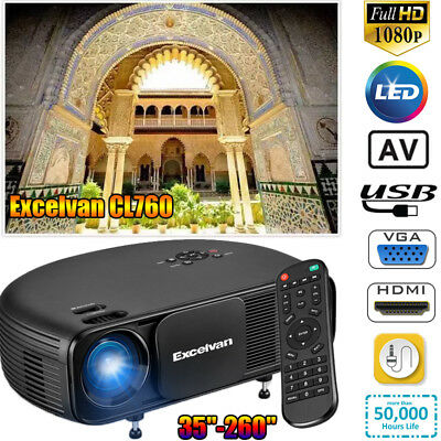 Excelvan Proyector 5000 lumens Bluetooth WiFi Android 1G+8G USB/HDMI/DTV/AV/VGA