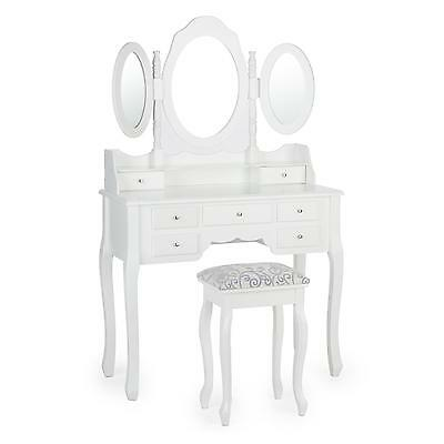 New White Dressing Table Country Style 7 Drawers 2 Foldable Mirror Stool Make Up