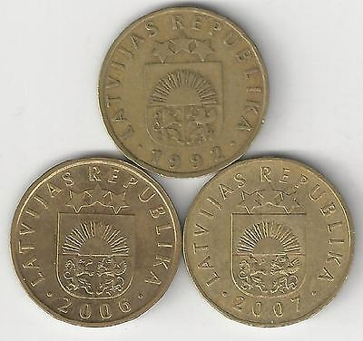 3 DIFFERENT 5 SANTIMI COINS from LATVIA (1992, 2006 & 2007)