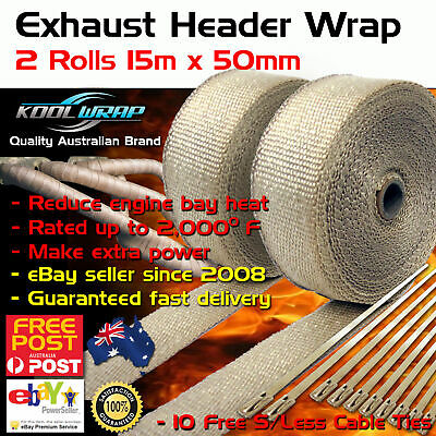 2 x ROLLS EXHAUST WRAP HEAT HEADER 2000F 50mm x 15m TAN NATURAL CREAM + 10 Ties