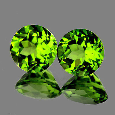 FLAWLESS~2.00CT BEST PAIR! ROUND 6.0mm AAA+ GREEN PERIDOT NATURAL LOOSE GEMSTONE