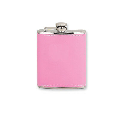 Pink Leather Wrapped 6oz Stainless Steel Hip Flask