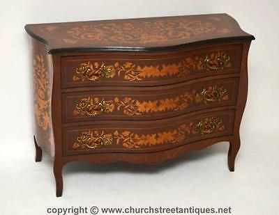 Antique Dutch Marquetry Bombe Chest Of Drawers - Commode