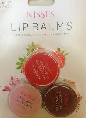 3pk Flavoured Lip Balm for Dry Chapped Lips Sherbert, Chocolate and Strawberry
