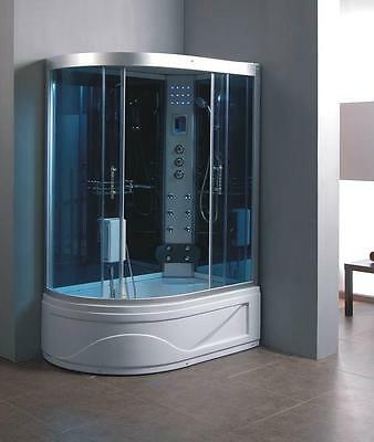 Offset Corner Thermostatic Steam Shower Combined Bath Cubicle Glass Screen Taps