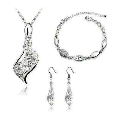 Silver Plated Crystal Jewellery Set Pendant Necklace Earrings and Bracelet Gift