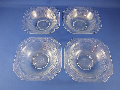 Four (4) Federal / Indiana Clear Madrid Depression Glass Pattern - Bowls