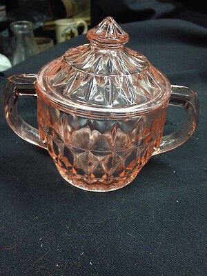 """JEANETTE """"WINDSOR DIAMOND"""" PATTERN PINK DEPRESSION GLASS SUGAR BOWL With Lid"""
