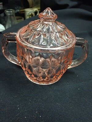 "JEANNETTE ""WINDSOR DIAMOND"" PATTERN PINK DEPRESSION GLASS SUGAR BOWL With Lid"