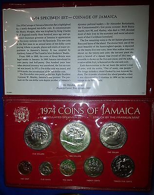 1974 Jamaica uncirculated specimen 8 coin set by Franklin Mint