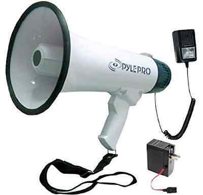 Pyle Bullhorn Megaphone, Built-in Rechargeable Battery, 10 Second Memory Record,