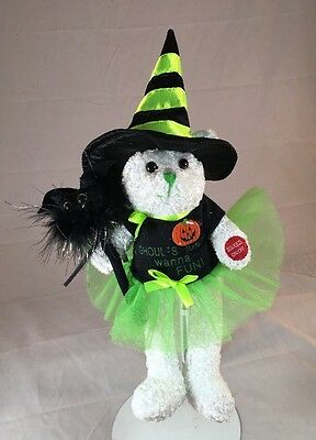 """Chantilly Lane Halloween Animated/Musical 11"""" Witch Bear (B968-A86)"""