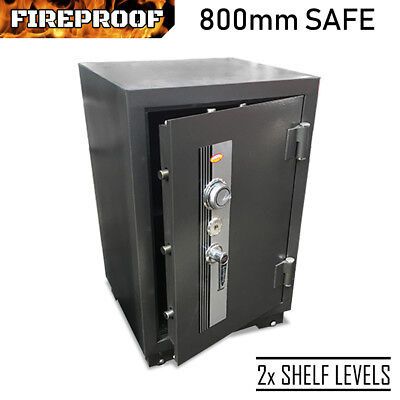 FIREPROOF 800mm SAFE Heavy Duty 154kg Steel Security Cabinet Tumbler Key Lock