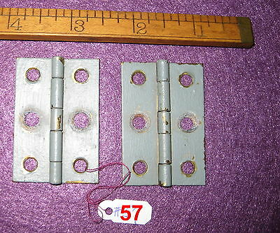 Old Antique Vintage 2 Piece Butt Door Hinges Solid Brass Made In Usa # 57