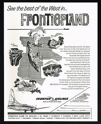 1965 Frontier Airlines See The Best Of The West Vintage Print Ad