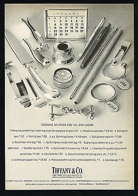 1972 Tiffany Sterling Silver Assorted Stocking Stuffers  Vintage Print Ad