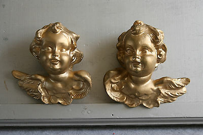 Hollywood Regency Angel Cherub Faces 2 PC Gold Gilt Putti Busts Gilded 3D Xmas