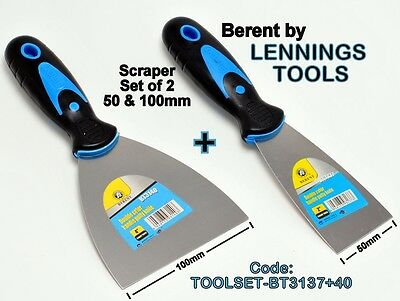 BERENT - SCRAPERS SET of 2 - 50 & 100mm - 2 pc Set  - (TOOLSET-BT3137+40)