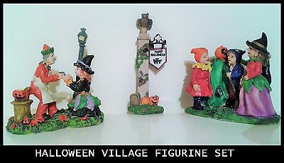 Halloween Village Figurines (3) Trick Or Treat, Witch, Sign Post, Rare Vintage