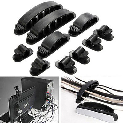 10 Pcs Cable Cord Wire Line Organizer Clips Ties Fixer Fastener Holder Novelty